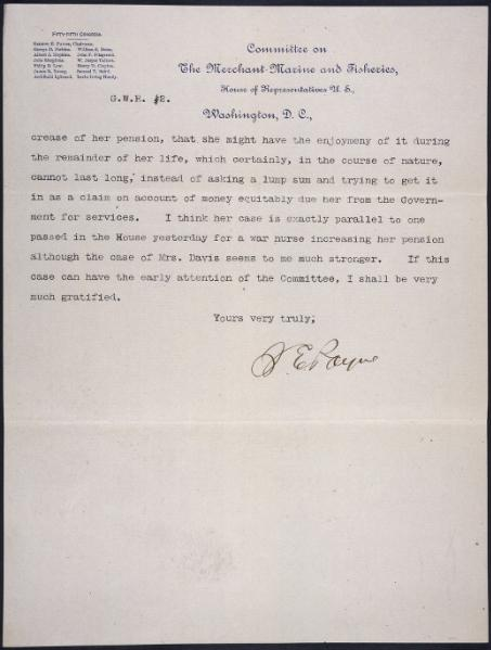 File:Letter from Sereno E. Payne, Chairman of the Committee on Merchant Marine and Fisheries.djvu