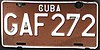 License plate of Cuba 2002 joint venture company Granma GAF 272.jpg