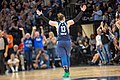 Lindsay Whalen encourages Lynx fans for support against a referee call against the Lynx.jpg