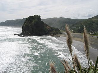 Piha - Looking north over South Piha beach to Lion Rock. North Piha beach is visible beyond.