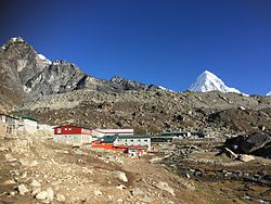 Partial view of Lobuche from the trail lead to Dughla (Thukla)