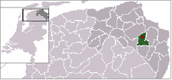 Location of Noordbroek in Menterwolde (green), Groningen (dark grey), the Netherlands (light grey)