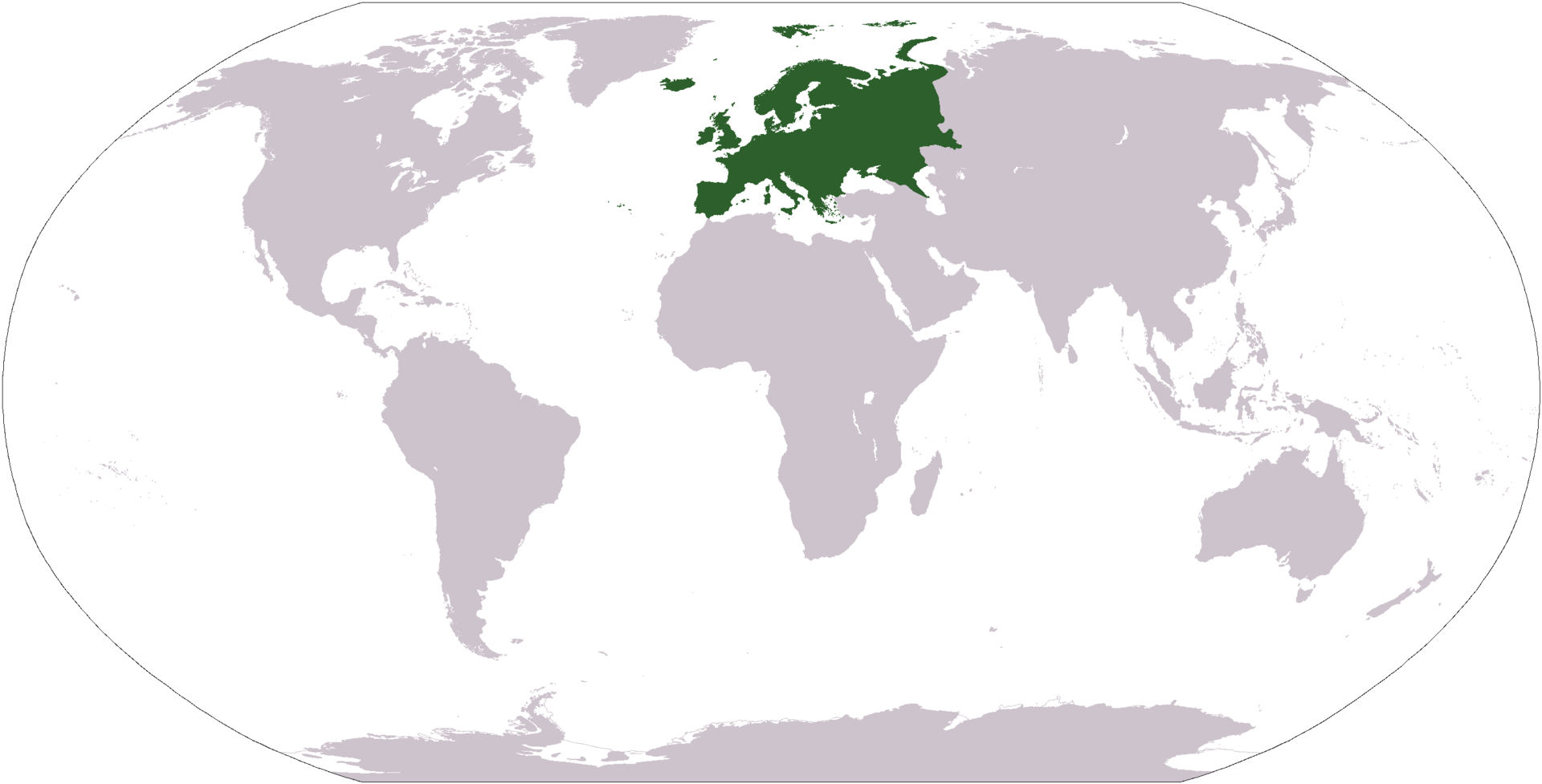 World map with Europe highlighted in green