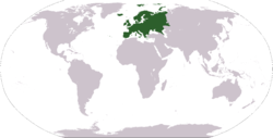 World map showing Europe (geographically)