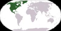 Παγκόσμιος χάρτης με την θέση της Βόρειας Αμερικής