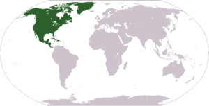 World map depicting North America south americ...