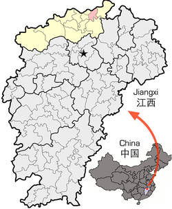Location of Hukou County (red) in Jiujiang City (yellow) and Jiangxi
