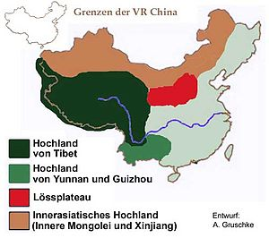Yunnan–Guizhou Plateau - Using a wider definition, the Yunnan–Guizhou Highlands make up the light green area on the lower part of this map