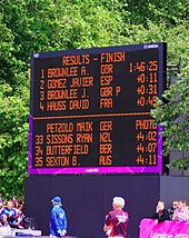 An electronic board with the first four athletes listed on it