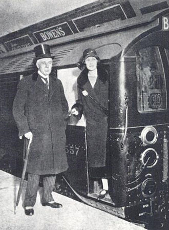 Albert Stanley, 1st Baron Ashfield - Lord Ashfield and his daughter Marian at the reopening of the City and South London Railway, 1 December 1924