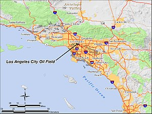 Los Angeles City Oil Field - The Los Angeles City Oil Field in the Los Angeles Basin of southern California.  Other oil fields are shown in light gray.