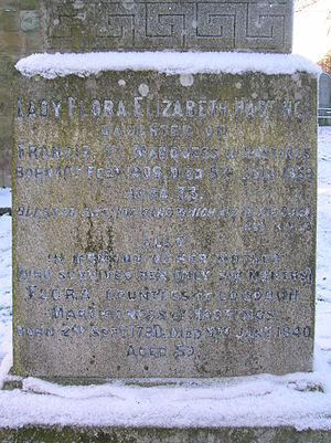 Loudoun Kirk - Inscription on the memorial to Lady Flora Hastings and her mother.