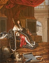 A periwigged man sits on a throne, wearing fleur-de-lis pattern regalia and embracing a child
