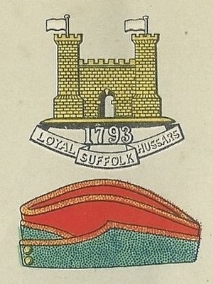 Suffolk Yeomanry - Loyal Suffolk Hussars badge and service cap