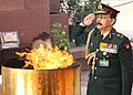 Lt. Gen. S.B. Sehajpal, AVSM, VSM, PHDS, DGDS & Col Commandant, paying tributes at Amar Jawan Jyoti, on the occasion of the Army Dental Corps Day, in New Delhi on February 01, 2011.jpg