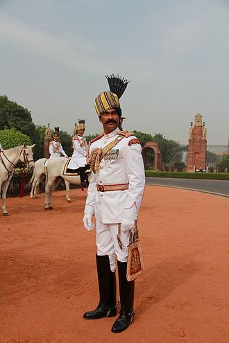 Household Division - A President's Bodyguard member in summer ceremonial dress.
