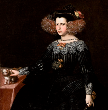 Luisa de Guzman, Queen Consort of Portugal, previously Duchess of Braganza. Luisa Francisca de Guzman y Medina Sidonia atribuible a Alonso Cano.png