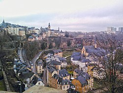 Skyline of Luxembourg City viewed over the Grund quarter