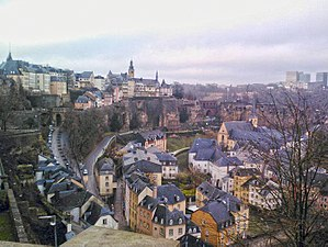 Luxembourg City - Skyline of Luxembourg City viewed over the Grund quarter