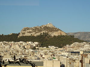 Ελληνικά: Ο Λόφος του Λυκαβηττού, δυτική πλευρ...
