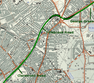 M11 link road protest - Route of the M11 link road overlaid over an older map of the area, with key protest sites marked