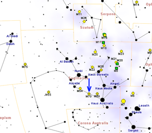 Messier 70 - Image: M70map
