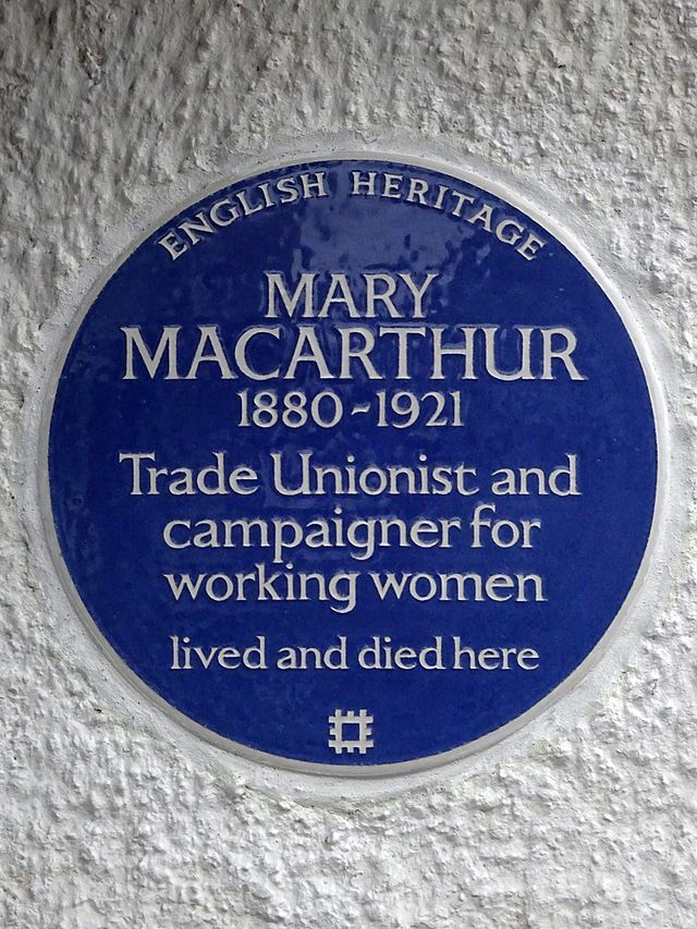 Photo of Mary Macarthur blue plaque