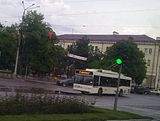 MAZ-103T (Dnipro T103) trolleybus on the route 3 in the Zaporizhzhya city (photo by Wladoff, 2016).jpg