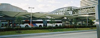Texas Medical Center Transit Center (METRORail station) - A group of METRO buses parked at the Texas Medical Center Transfer Station
