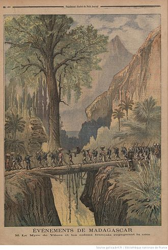 "Second Madagascar expedition - Second Madagascar expedition depicted in Le Petit Journal, with the legend: ""Events of Madagascar. M. Le Myre de Vilers and the colons leaving the coast."""
