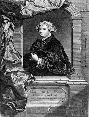 Marquise de Caylus - Engraving by Jean Daullé after Rigaud