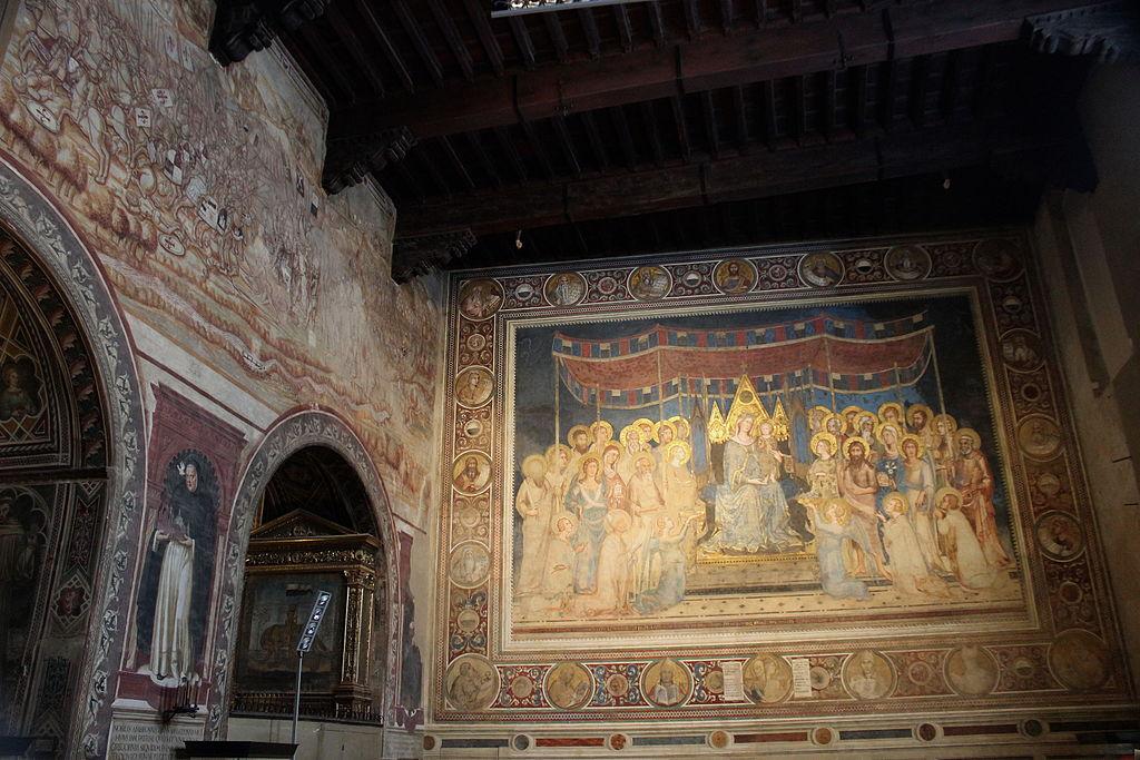 Simone Martini,Guidoriccio da Fogliano all'assedio di Montemassi, 1328-30; Duccio di Buoninsegna,Consegna del castello di Giuncarico, 1314, Sala del Mappamondo del Palazzo Pubblico, Siena