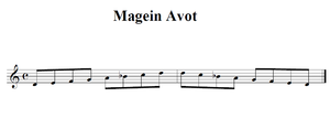 a visual representation of the Magein Avot scale D, E, F, G, A, B♭, C, D