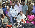 Mahesh Sharma and the Minister of State for Commerce & Industry (Independent Charge), Smt. Nirmala Sitharaman addressing the media after visiting the archaeological excavations site, at Keeladi Village near Madurai.jpg