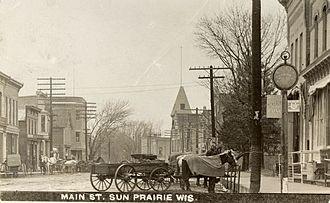Sun Prairie, Wisconsin - Sun Prairie's Main Street, circa 1875.