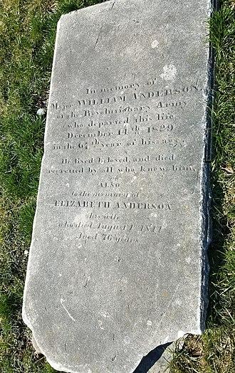 William Anderson (Pennsylvania) - Major William Anderson gravestone in Old St. Paul's Episcopal Church burial ground in Chester, Pennsylvania
