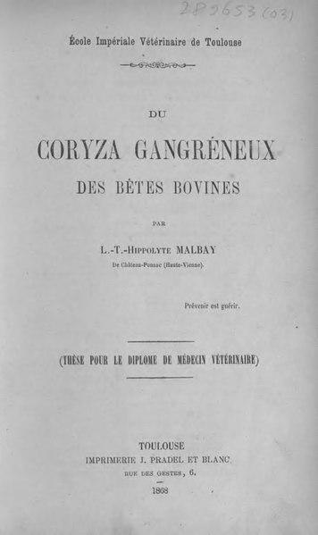 File:Malbay - Du coryza gangréneux des bêtes bovines.djvu