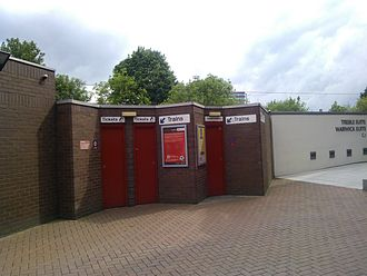 Manchester United Football Ground railway station - The entrance to Manchester United Football Ground railway station, adjacent to the South Stand at Old Trafford