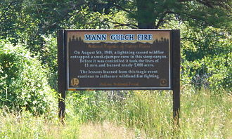 Mann Gulch Fire - Commemorative sign at Mann Gulch