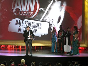 Manuel Ferrara - Manuel Ferrara winning Male Performer of the Year at the 2010 AVN Awards show