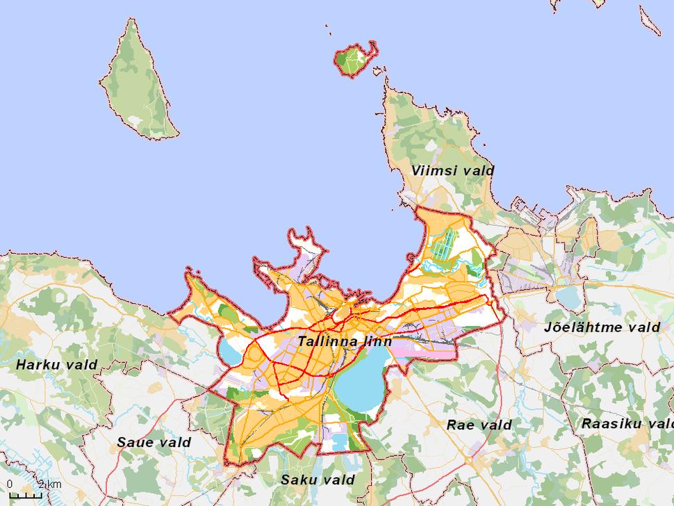 Map Estonia - Tallinna linn