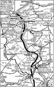 Map First Battle of Ypres 1914 NYT May 1915