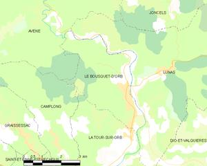 Le Bousquet-d'Orb - Map