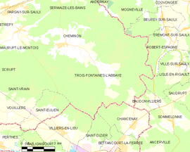 Mapa obce Trois-Fontaines-l'Abbaye