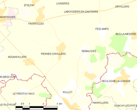 Mapa obce Piennes-Onvillers