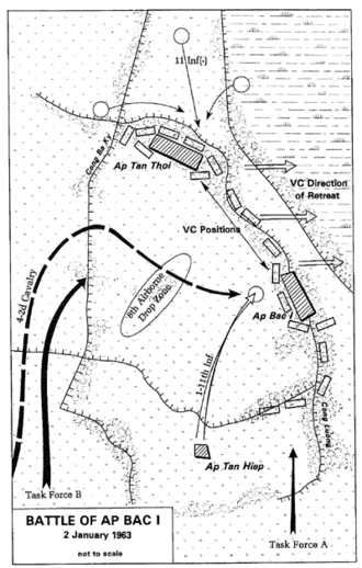 Battle of Ap Bac - A map of the battlefield.
