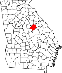 Map of Georgia highlighting Hancock County