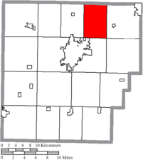 Location of Cass Township in Hancock County.
