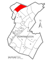 Map of Huntingdon County, Pennsylvania Highlighting Franklin Township