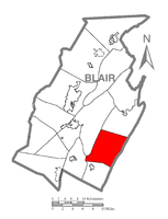 Map of Blair County, Pennsylvania highlighting Huston Township